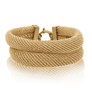 Gioelli Sterling Silver Yellow Gold Plated Italian Double Row Mesh Bracelet