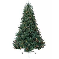 7-foot Prelit Artificial Deerwood Fir Tree with 600 Multi-Colored Lights and Metal Stand