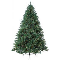 8-foot Prelit Artificial Woodriff Spruce Tree with 750 Warm Lights and Metal Stand