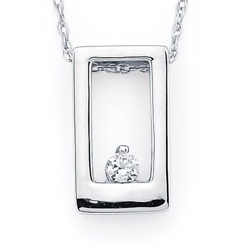 Boston Bay Diamonds 14k White Gold .04ct TDW Diamond Accent Open Rectangle Pendant w/ Chain