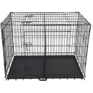 Folding 42-inch Triple-door Metal Dog Crate with Divider Panel