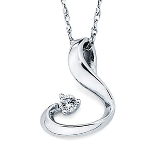Boston Bay Diamonds 14k White Gold .03ct TDW Diamond Petite Curve Pendant w/ Chain