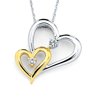 Boston Bay Diamonds 14k White & Yellow Two-Tone Gold .06ct TDW Diamond Heart Pendant w/ Chain