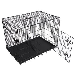 Folding Double Door Metal Dog Crate With Divider Panel