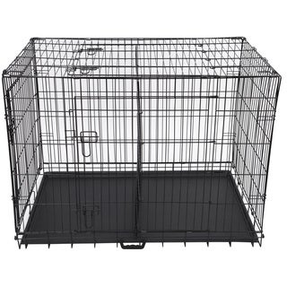 Folding 48-inch Three-door Metal Dog Crate with Divider