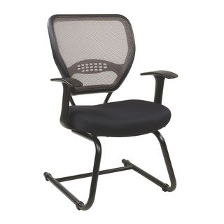 Space 55 Series Black Professional Latte Air Grid Sled Base Visitors Chair - N/A