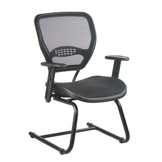 Space 55 Series Black Air Grid Seat/ Back Deluxe Sled Base Visitors Chair