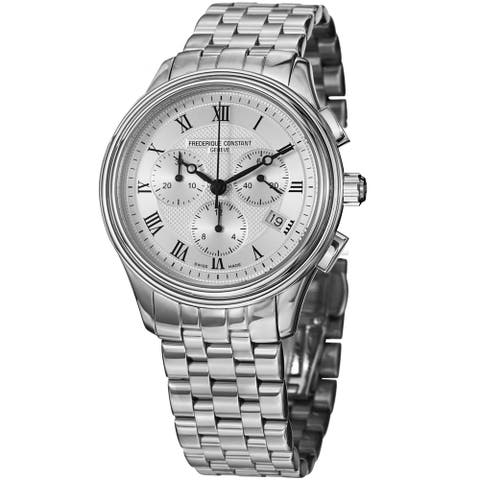 Frederique Constant Men's 'Classics' Silver Dial Chronograph Stainless Steel Watch