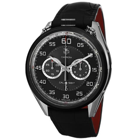 Tag Heuer Men's CAR2C12.FC6327 'Carrera Jack Heuer Limted Edition' Chronograph Automatic Black Leather Watch