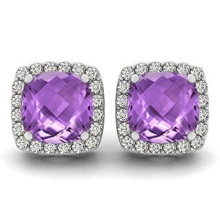 Marquee Jewels 14k White Gold 1/3ct TDW Diamond and Amethyst Stud Earrings (I-J, I1-I2)