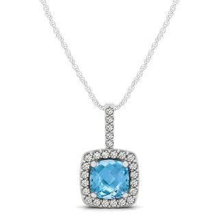 Marquee Jewels 14k White Gold 1/5ct TDW Diamond and Blue Topaz Pendant (I-J, I1-I2)