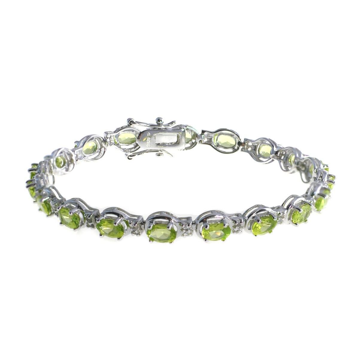 Peridot  White Topaz Tennis  Gemstone Sterling Silver 925 Chain Bracelet