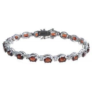 De Buman Sterling Silver Natural Garnet, Peridot, Amethyst or Multi-colored Gemstones with White Topaz Bracelet