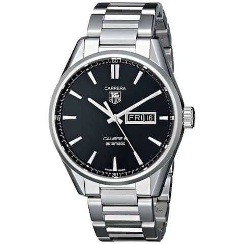 Tag Heuer Men's 'Carrera' Black Dial Stainless Steel Day Date Watch