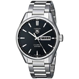 Link to Tag Heuer Men's 'Carrera' Black Dial Stainless Steel Day Date Watch Similar Items in Men's Watches