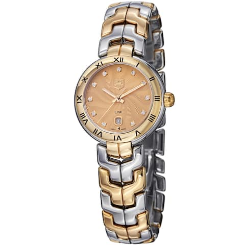 Tag Heuer Women's WAT1451.BB0955 'Link' Goldtone Dial Two Tone Quartz Watch