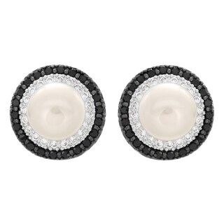 Sterling Essentials Silver Cubic Zirconia and Cultured Pearl Stud Earrings (8-9 mm)