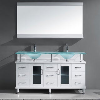 Virtu USA Vincente 59-inch White Double Sink Bathroom Vanity Set