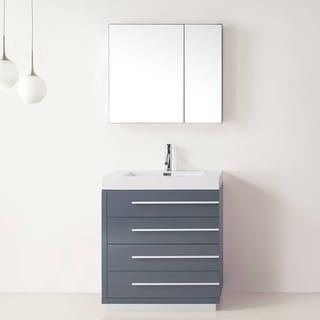 Virtu USA Bailey 30 Inch Polymarble Single Sink Vanity
