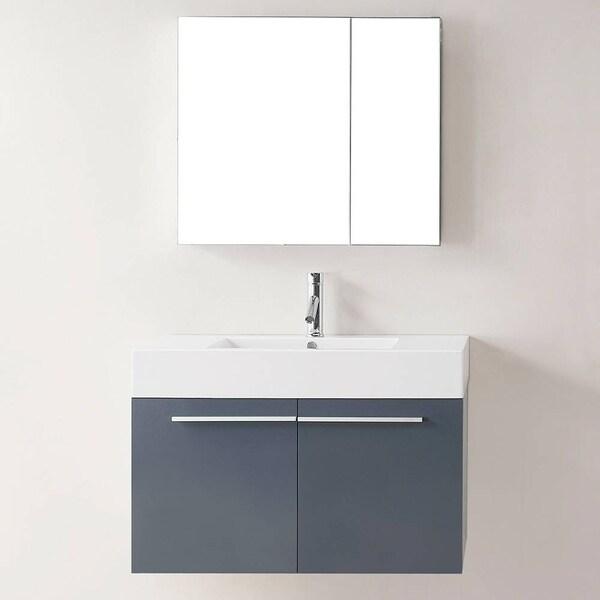 Shop Virtu Usa Midori 36 Inch Polymarble Grey Single Sink Bathroom Vanity Set With Medicine