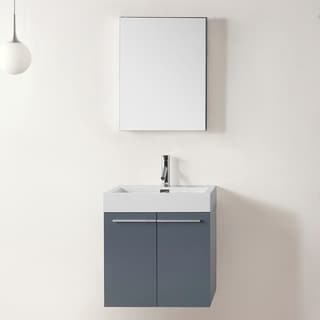 Virtu USA Midori 24-inch Grey Single Sink Bathroom Vanity Set