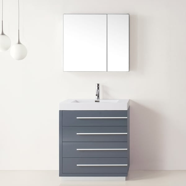 Virtu usa bailey 30 inch grey single sink bathroom vanity free shipping today for 30 inch bathroom vanity with sink