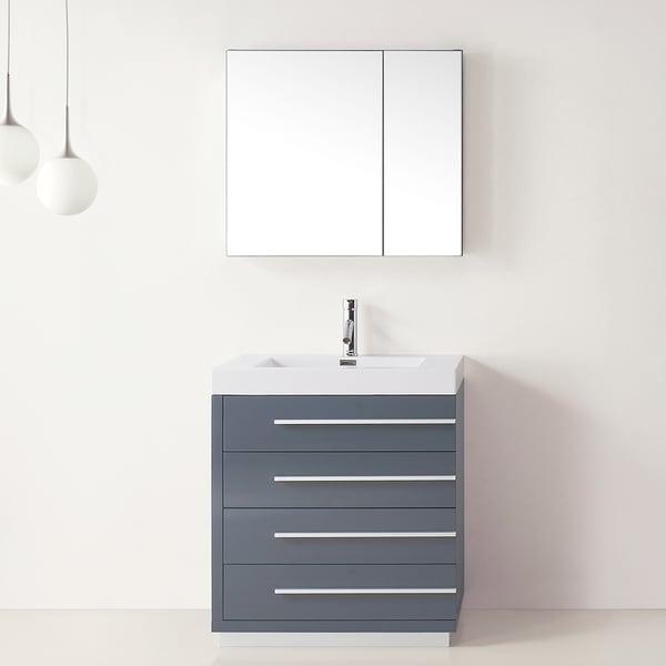 Virtu usa bailey 30 inch grey single sink bathroom vanity for Overstock com vanities