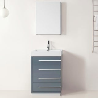 Virtu USA Bailey 24 Inch Grey Single Sink Bathroom Vanity