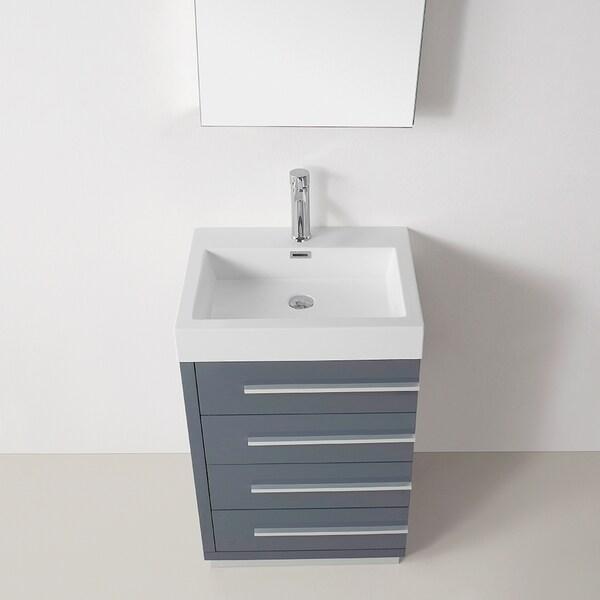 Virtu USA Bailey 24 Inch Grey Single Sink Bathroom Vanity   Free Shipping  Today   Overstock.com   16782366