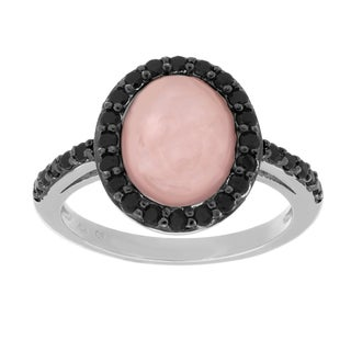 Sterling Essentials Silver Rose Quartz and Black Cubic Zirconia Cocktail Ring