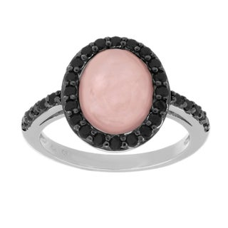 Sterling Essentials Silver Rose Quartz and Black Cubic Zirconia Cocktail Ring (3 options available)