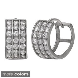 Gioelli Silver Plated 3 Row CZ Hoop Earrings