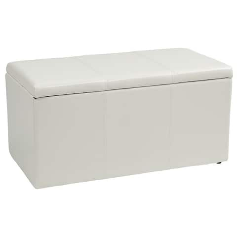 Metro Vinyl Ottoman Bench with Two Matching Storage Ottomans