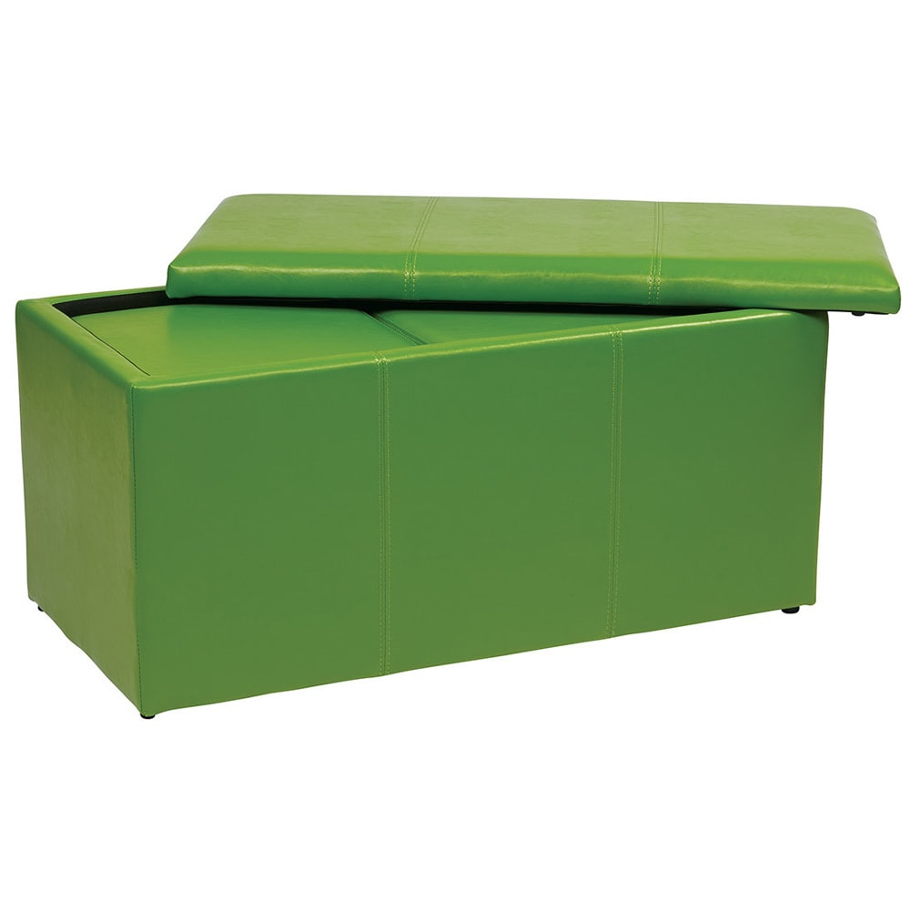 Office Star Products Metro Vinyl Ottoman Bench With Two M..