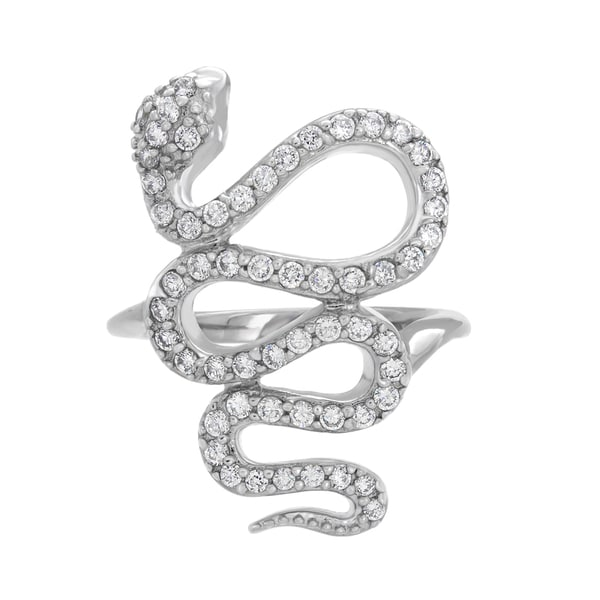 Sterling Essentials Silver Cubic Zirconia Snake Ring