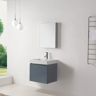 Virtu USA Zuri 24-inch Grey Single Sink Bathroom Vanity