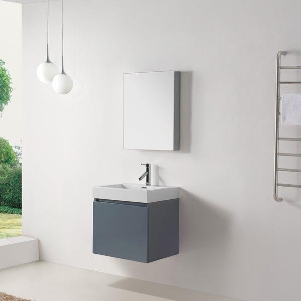 Virtu Usa Zuri 24 Inch Grey Single Sink Bathroom Vanity