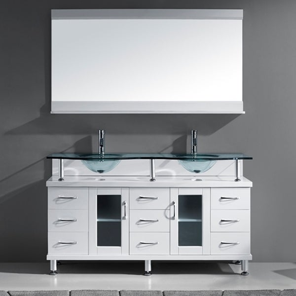 Virtu Usa Vincente 59 Inch White Double Sink Bathroom Vanity Set Free Shipping Today