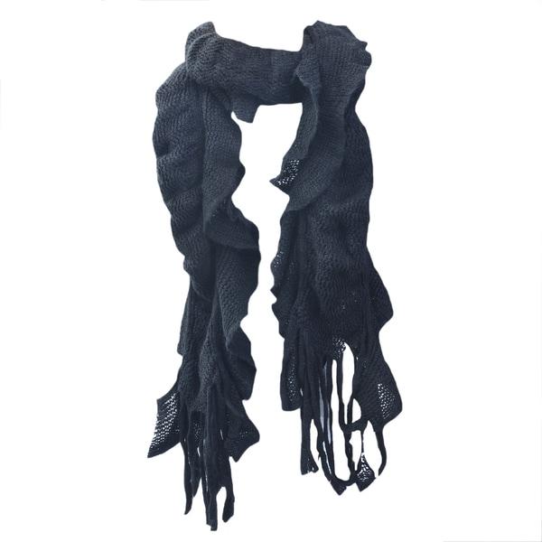 Kate Marie 'Uma' Double Layer Fringe Knit Scarf