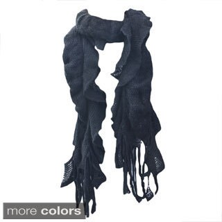 Kate Marie 'Uma' Double Layer Fringe Knit Scarf