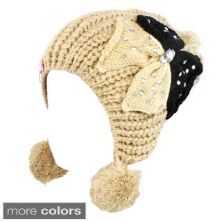 Kate Marie 'Kandi' Pom Pom and Rhinestone Bow Beanie