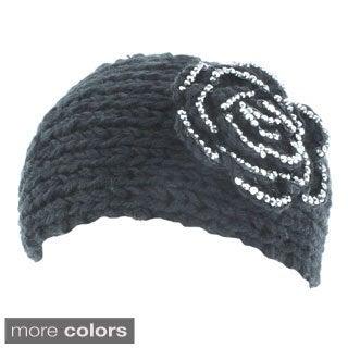 Kate Marie 'Alexis' Rhinestone Floral Knit Headband