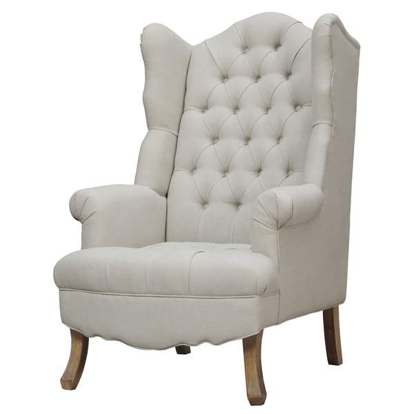 Madison Beige Linen Wing Chair Free Shipping Today
