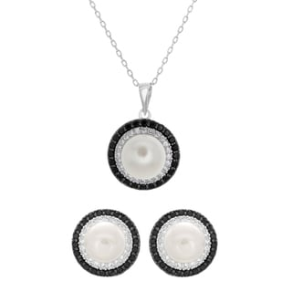 Sterling Essentials Silver Cubic Zirconia and Cultured Pearl Necklace and Earrings Set (9-10 mm)