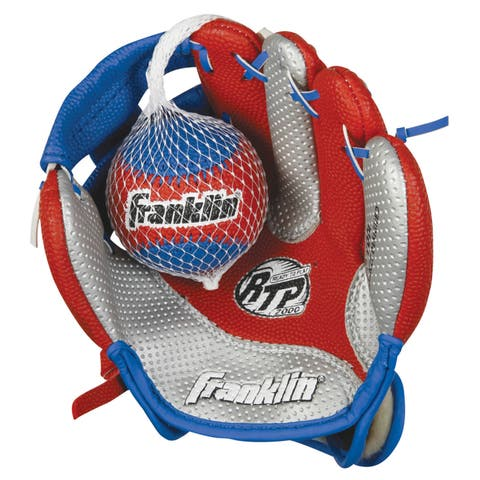 Franklin Sports Air Tech 9-inch Baseball Glove for Right Handed Thrower with Ball - Red Silver Blue - 9""