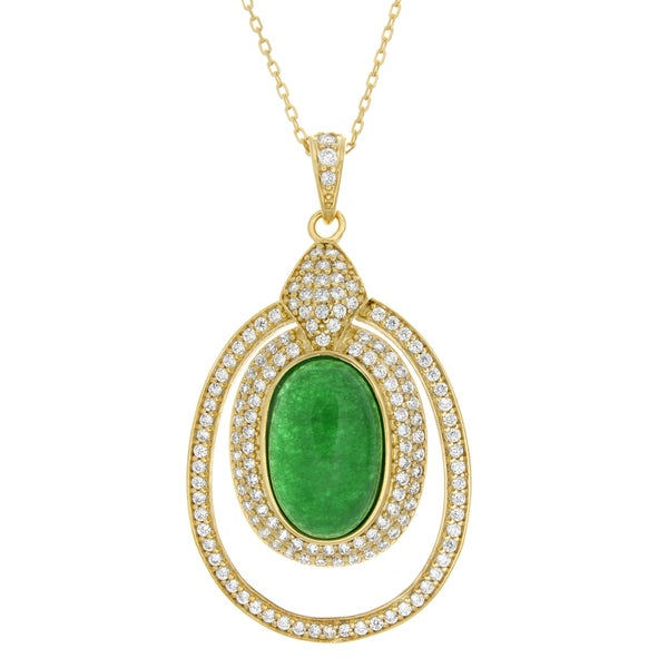 Sterling Essentials 14k Goldplated Silver Jade and Cubic Zirconia Pendant Necklace