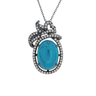Sterling Essentials Black Rhodium Plated Silver Simulated Turquoise and Cubic Zirconia Pendant Necklace