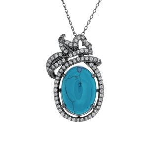 Black Rhodium Plated Sterling Silver Simulated Turquoise and Cubic Zirconia Pendant Neckl