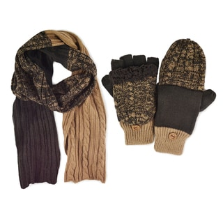 Men's Color Block Cable Scarf & Flip Mittens Set