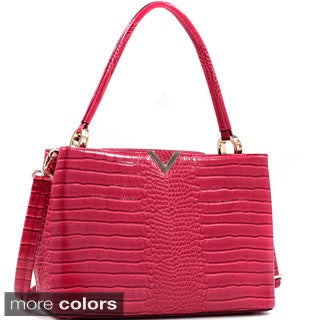 Croc Embossed V-emblem Shoulder Bag